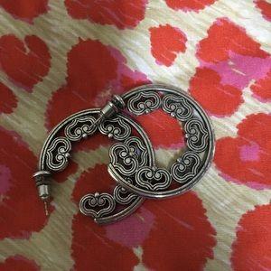 Vintage Brighton hoop earrings with heart detail